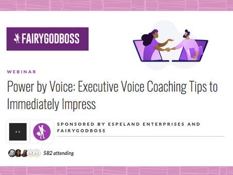 "Fairygodboss hosts Espeland Enterprises to discuss ""Executive Voice Coaching Tips to Impress"""