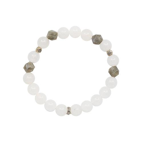 Armband |  White Jade/Silver | Gummizug