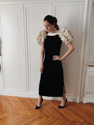 Vestido de invitada blanco y negro