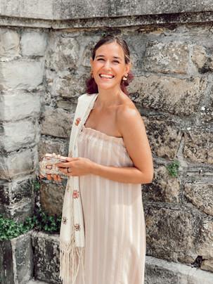 Vestido de invitada a medida palabra de honor. Diseño de Poydel