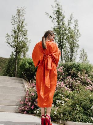 Vestido kimono naranja a medida