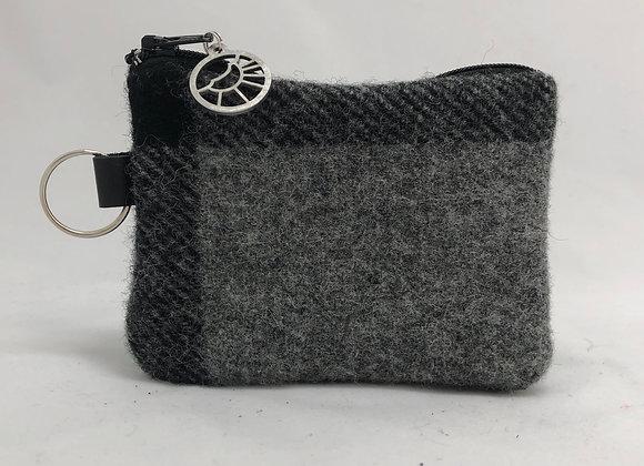 Dark Grey Plaid Card Wallet