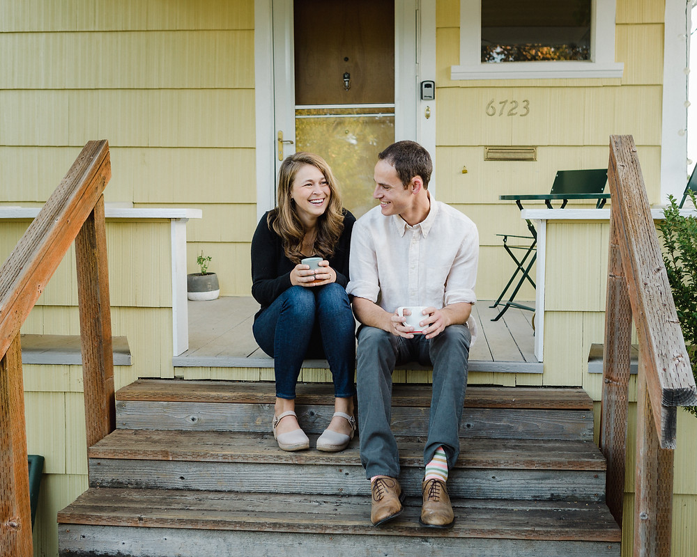 On the porch of the little yellow house we live in. PC: Nate Canada