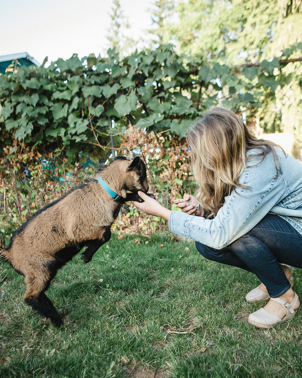 Benedict, our male goat, and me.