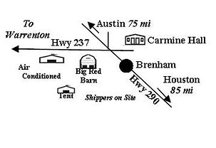Big Red Barn Round Top Texas Map