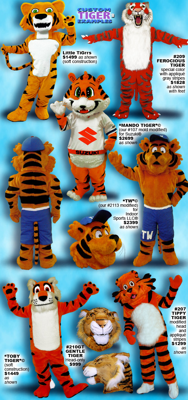 Facemakers custom-made tiger mascot costumes