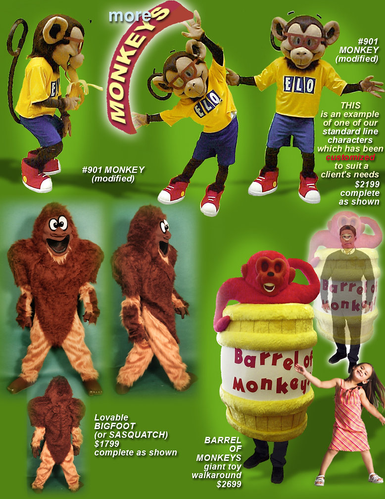 Facemakers Monkey custom-made mascot costumes
