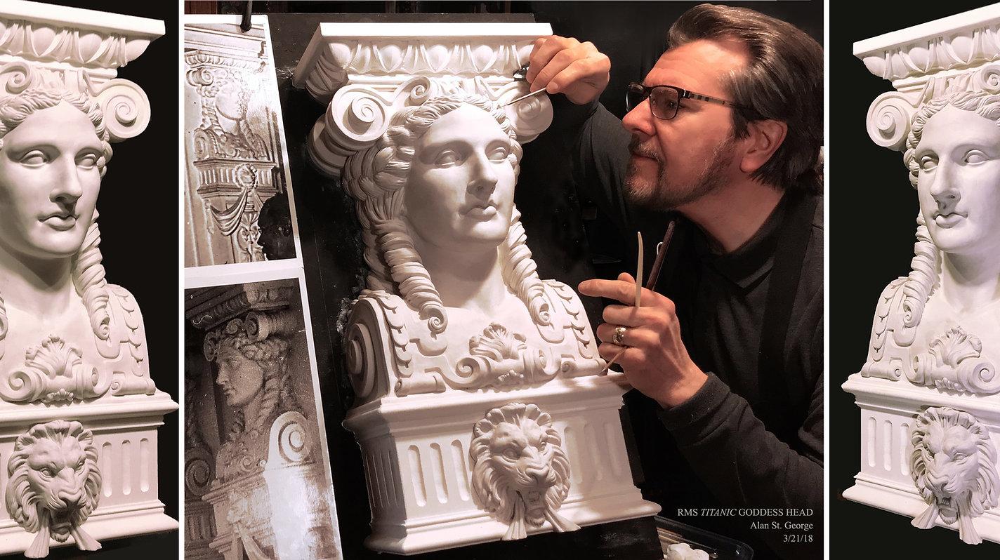 Titanic sculptor Alan St George making the First-class Dining Saloon goddess head.