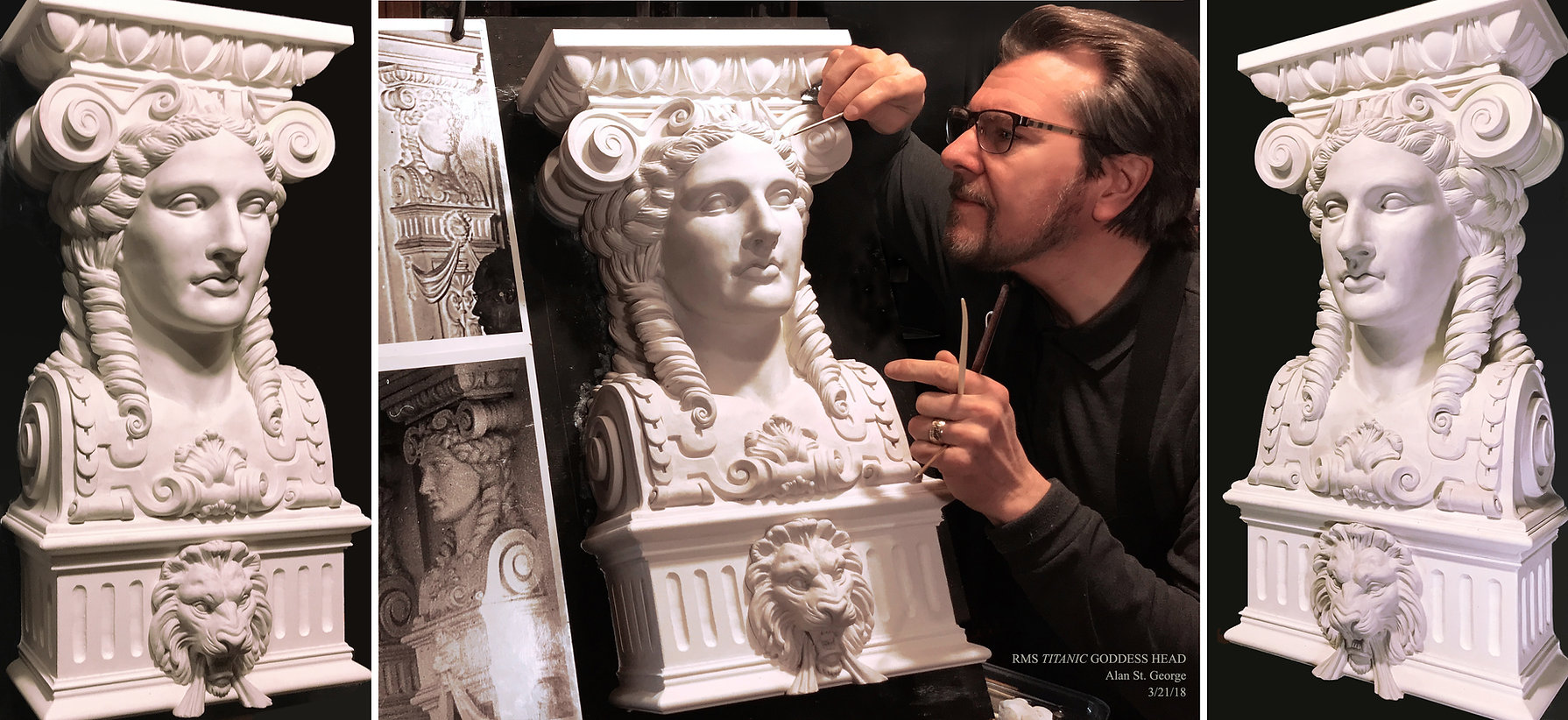 Titanic sculptor Alan St. George recreates the Goddess from the First-class Dining Saloon