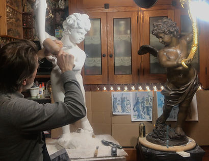 Titanic sculptor Alan St George recreates the large aft staircase cherub found on both Olympic and Titanic.