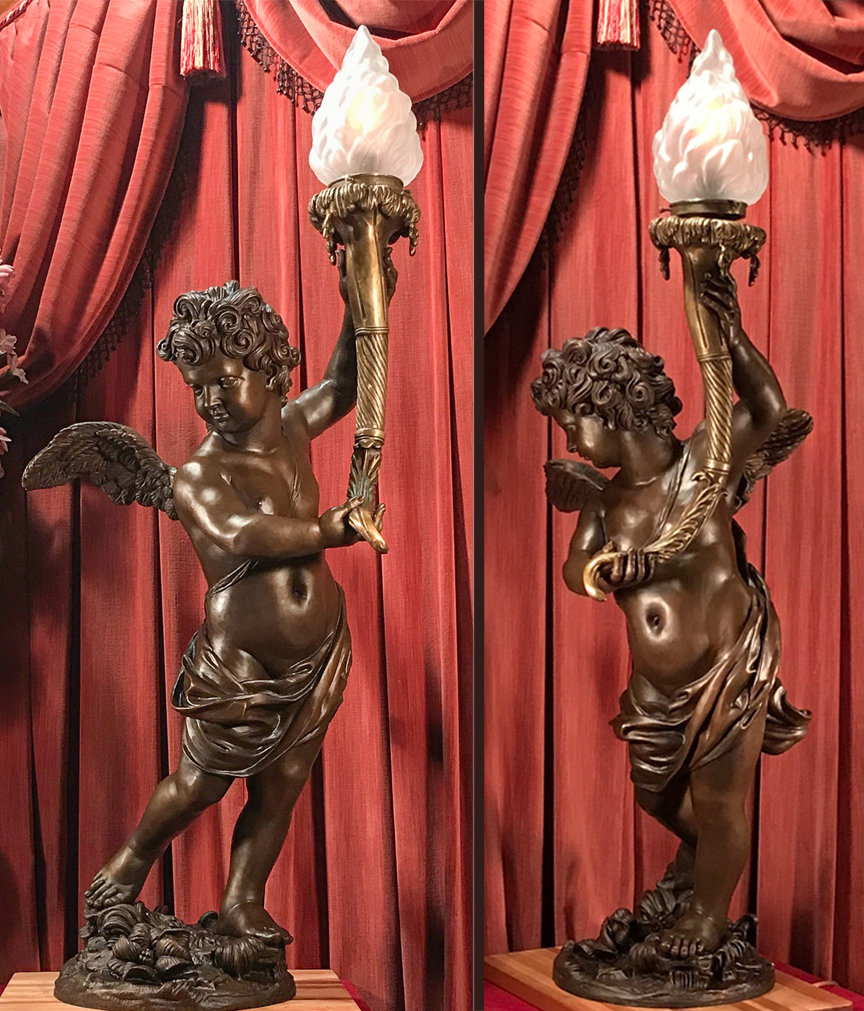 Full-sized sculpture of the Grand Staircase cherub lamp by Titanic sculptor Alan St George.