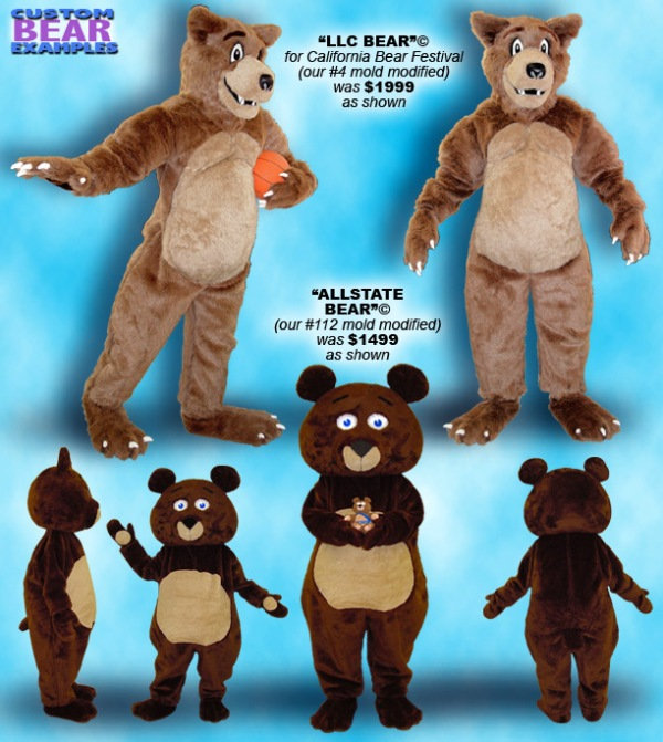 Facemakers custom-made bear mascot costumes