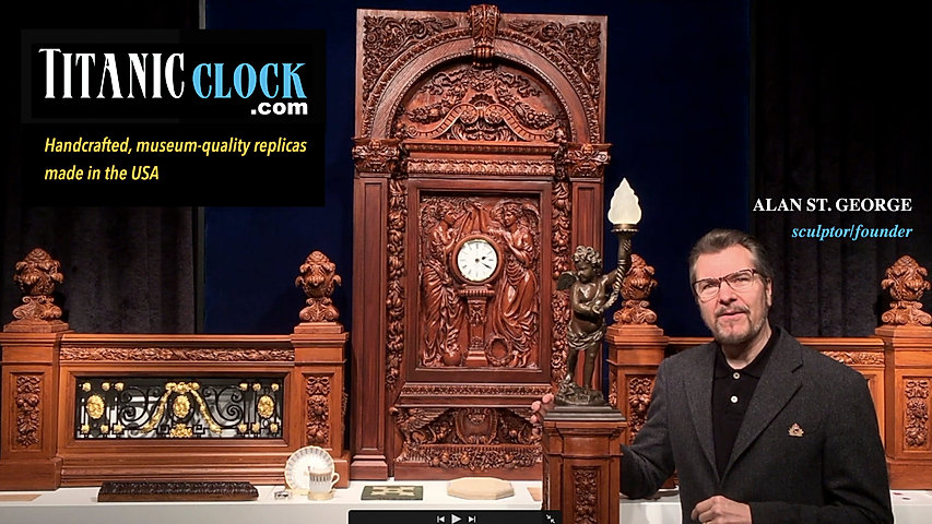 Titanic sculptor Alan St George with his recreation of the Grand Staircase is the founder of TitanicClock.com