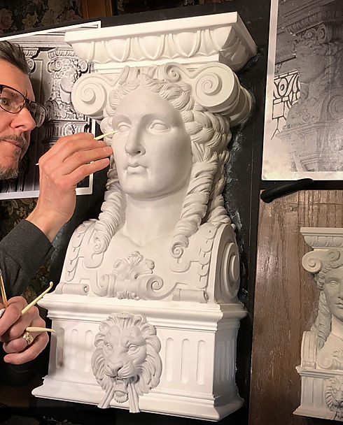 Sculpting the goddess from RMS Titanic. Alan St. George puts the final touches on the full-sized replica.