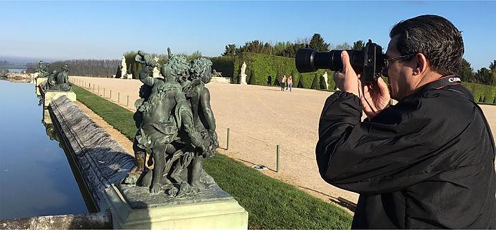 """Dan Rest, respected Chicago photographer takes 250 photos all around Pierre Granier's """"L'enfant avec la Torche"""" at Versailles."""