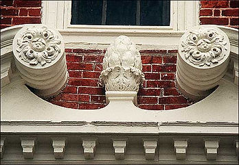 Titanic's pineapple finials may owe their origins to pineapple motifs such as this doorway at Shirley Plantation, begun in 1725.