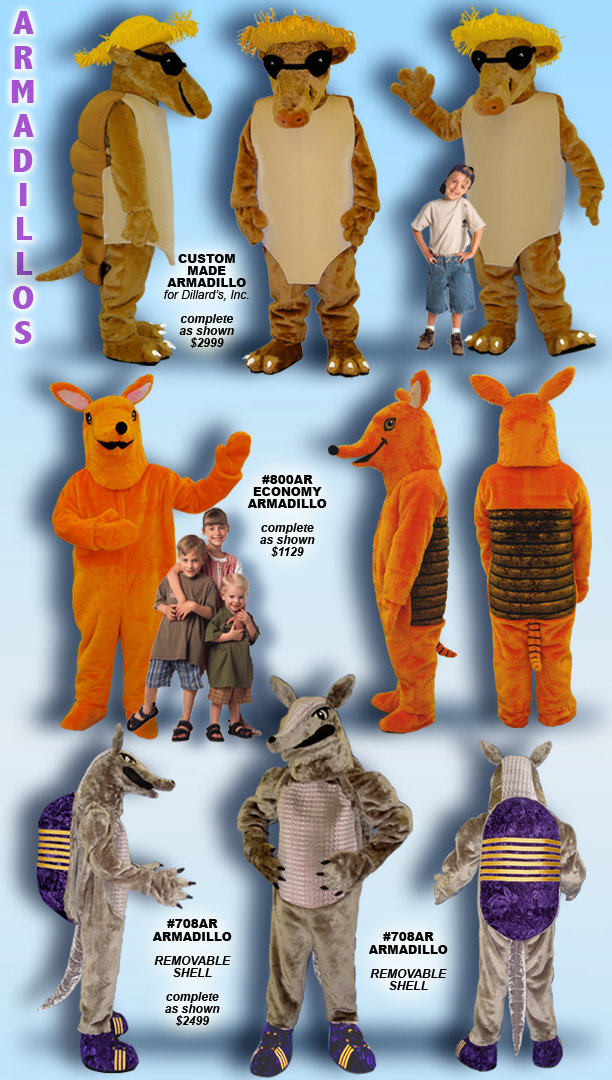 Facemakers Armadillo Mascot Costumes
