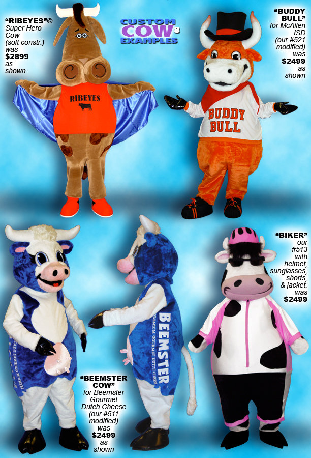 Facemakers Cows Mascot Costumes