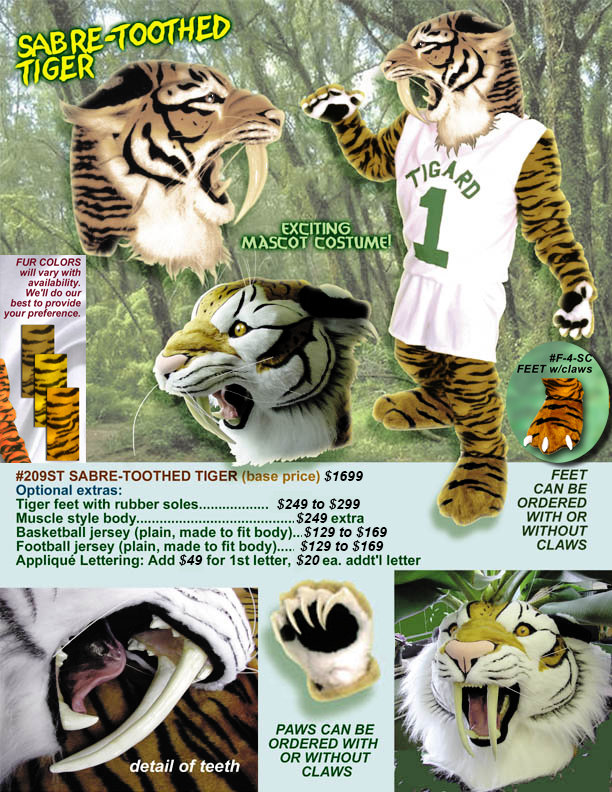 Facemakers sabre-toothed tiger mascot costumes