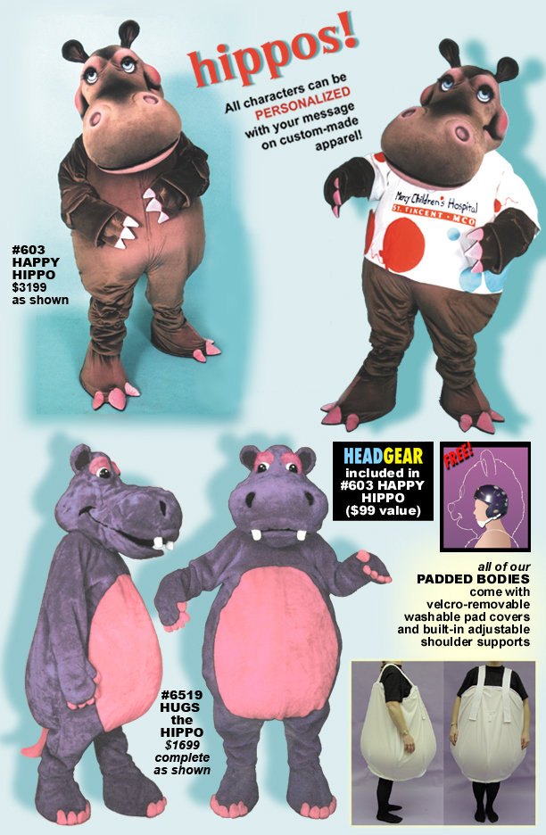 Facemakers Hippo Mascot Costumes