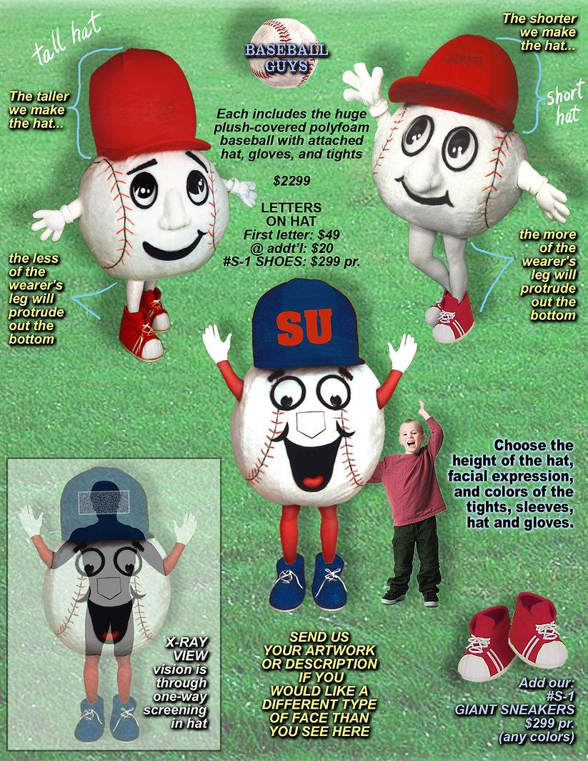 Facemakers Baseball Mascot Costumes