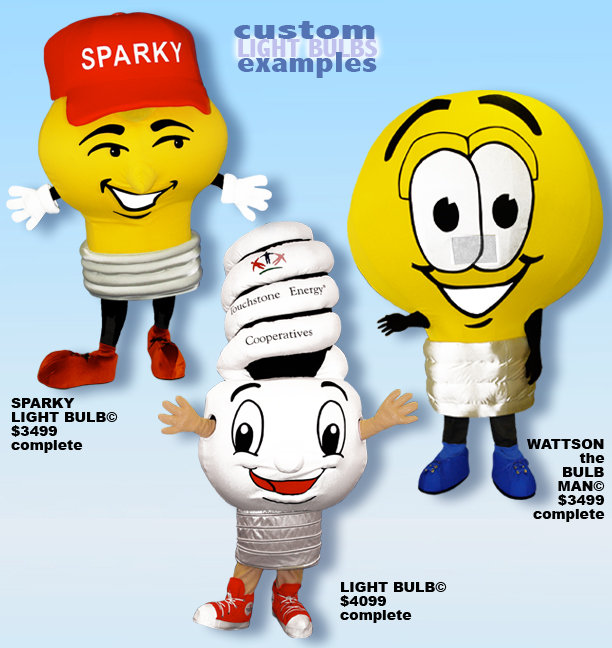 Facemakers Light Bulb Mascot Costumes