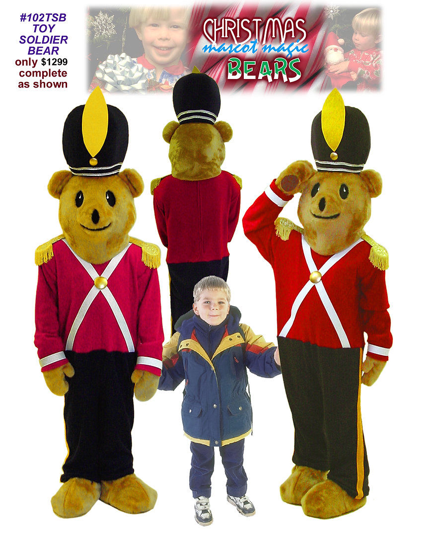 Facemakers Soldier Bear Mascot Costumes