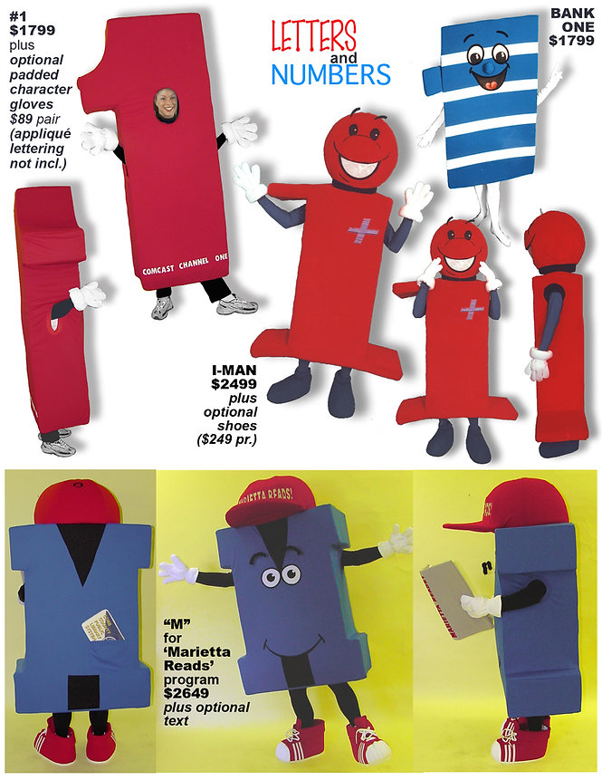Facemakers Letters-Numbers Mascot Costumes