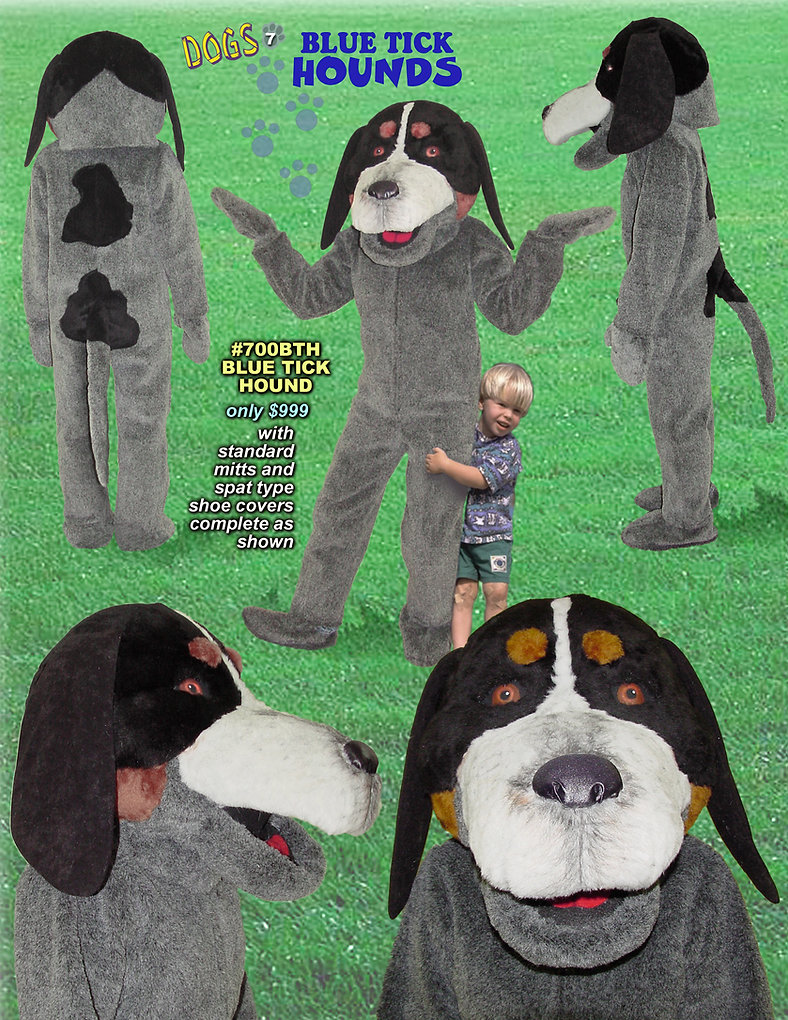 Facemakers Blue Tick Hound Dog mascot costumes