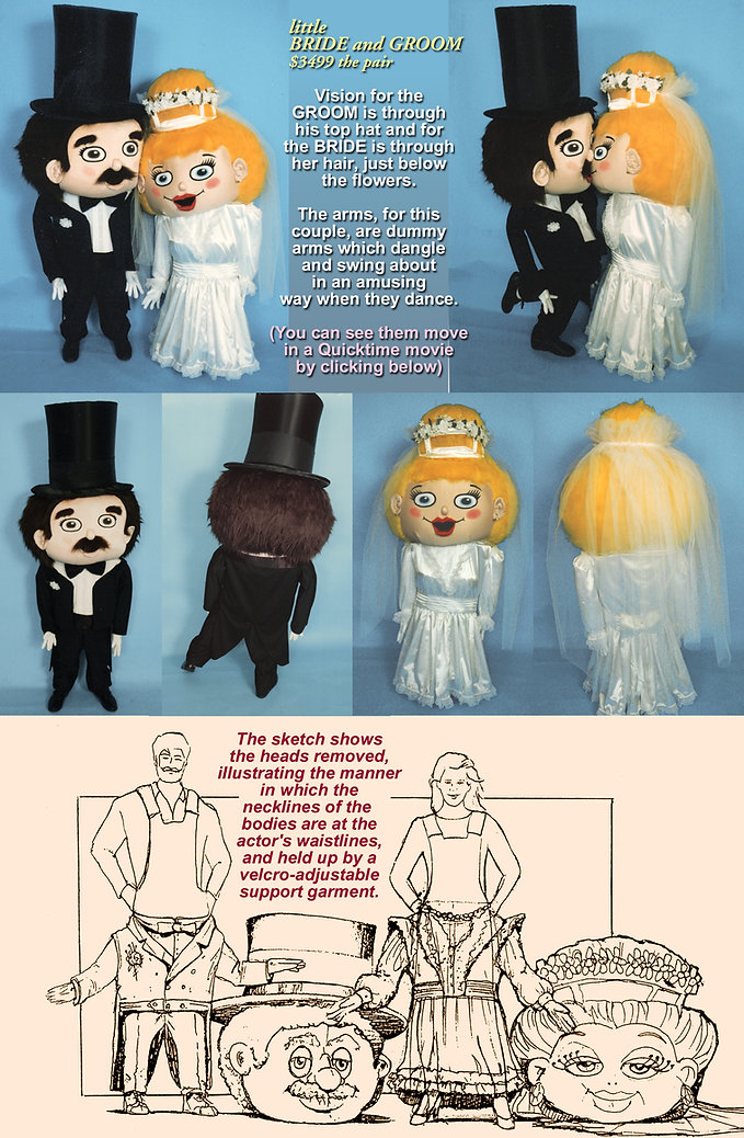Facemakers Giant Head Bridal Couple Mascot Costumes