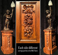 RMS Titanic cherub lamp pedestal. Museum-quality replica for your collection!