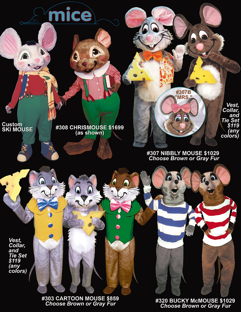 Facemakers Mouse Mascot Costumes