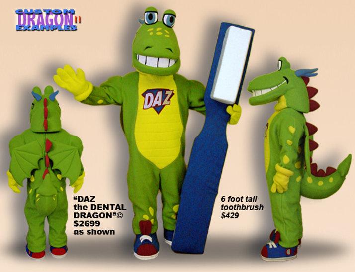 Facemakers Dental Dragon mascot costumes