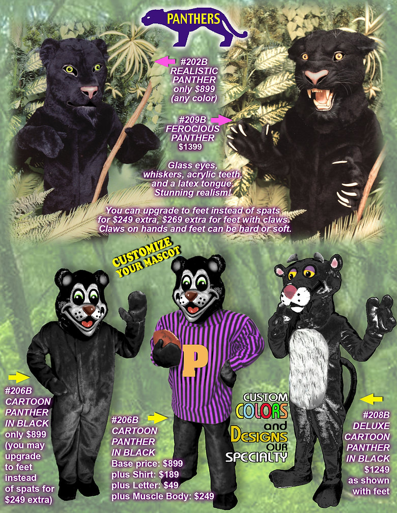 Facemakers Panther Mascot Costumes