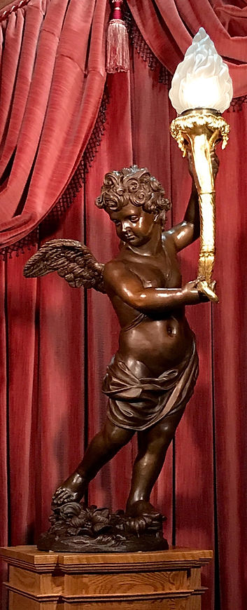 24 karat gold torch finish on genuine bronze Titanic cherub.jpg