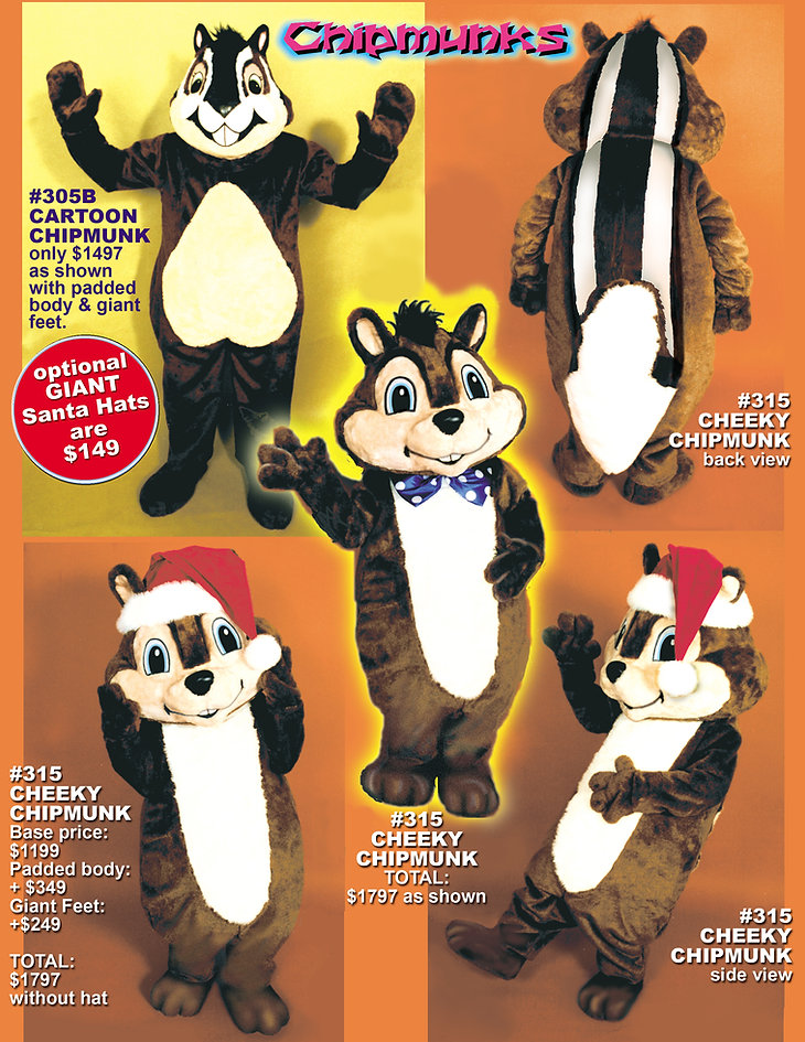 Facemakers Chipmunk mascot costumes