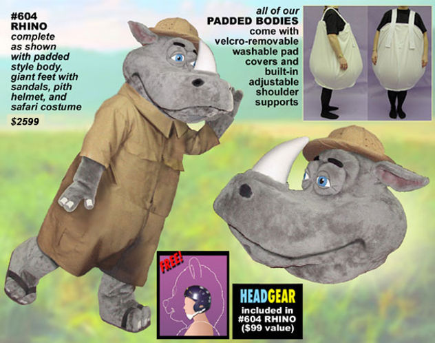 Facemakers Rhino Mascot Costumes