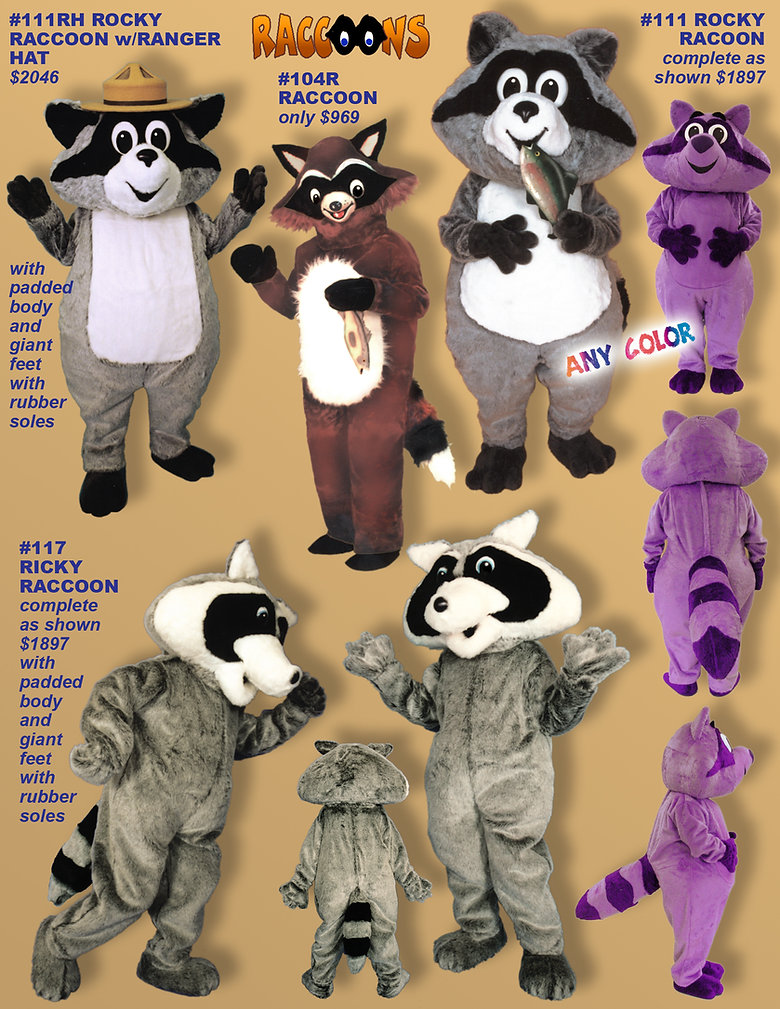 Facemakers Raccoon Mascot Costumes