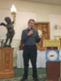 Alan St. George, Titanic sculptor, gives a talk at the Titanic Historical Society Convention 2018 on the cherub.