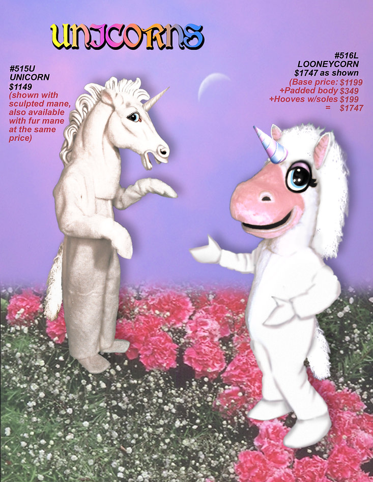 Facemakers unicorn mascot costumes