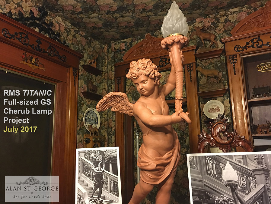 Sculpting the RMS Titanic cherub lamp in full size. 7-1-17