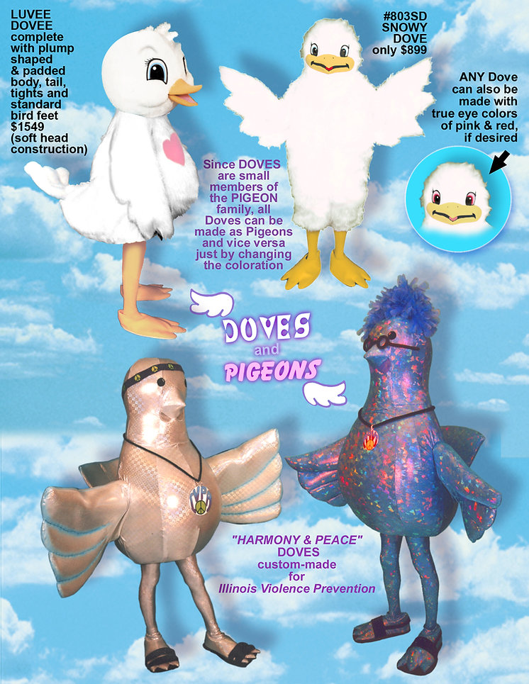 Facemakers Dove Mascot Costumes