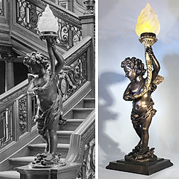 RMS Titanic cherub lamp. Museum-quality handcrafted resin cast for your collection!