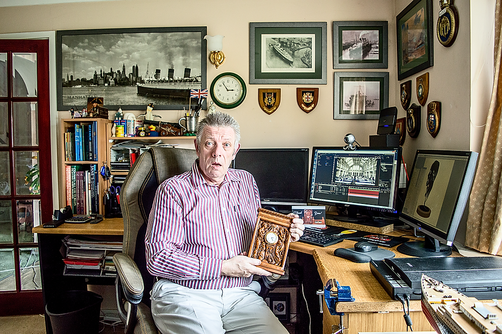 Clive Sweetingham, Titanic collector of the UK is gobsmacked by the clock replica made by Alan St George, USA.