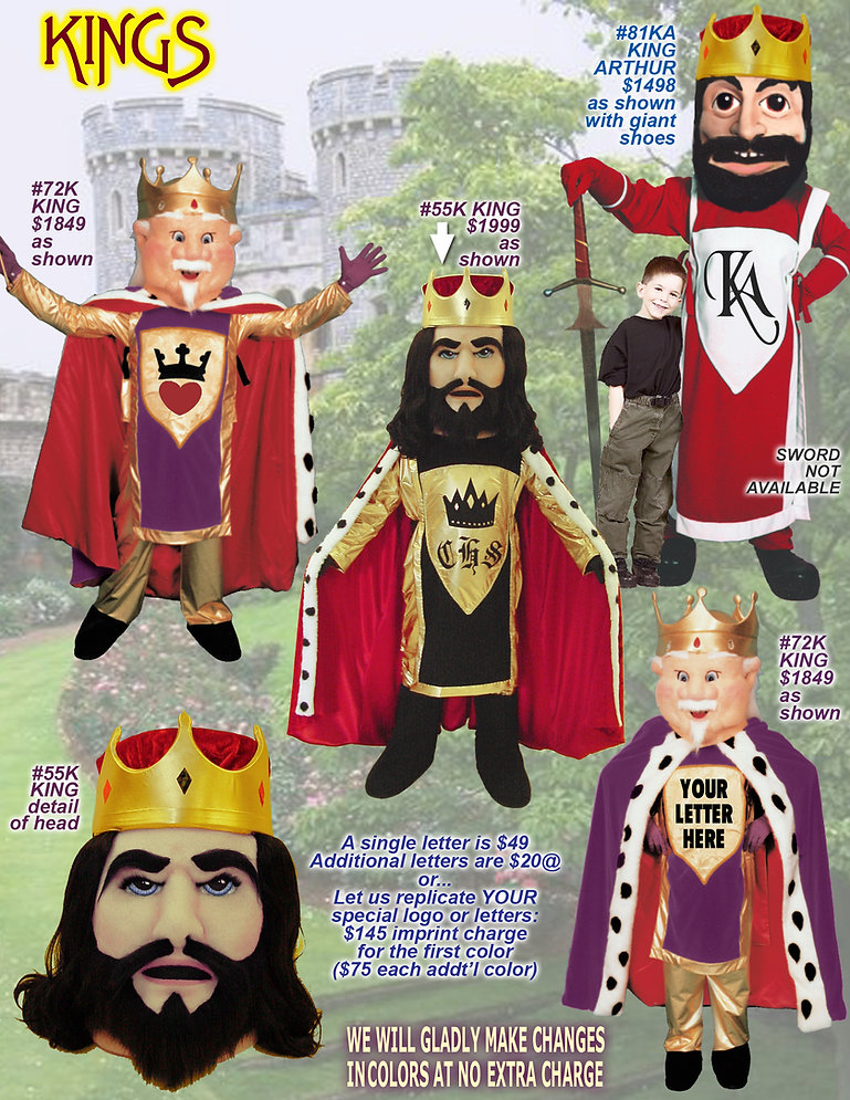 Facemakers King Mascot Costumes