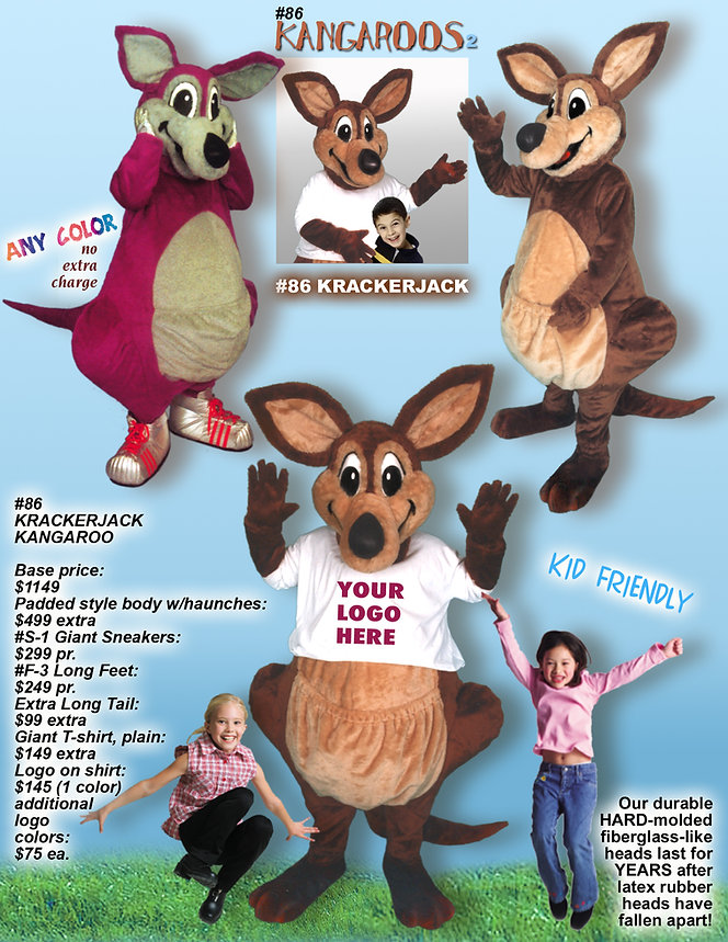Facemakers Kangaroo Mascot Costumes