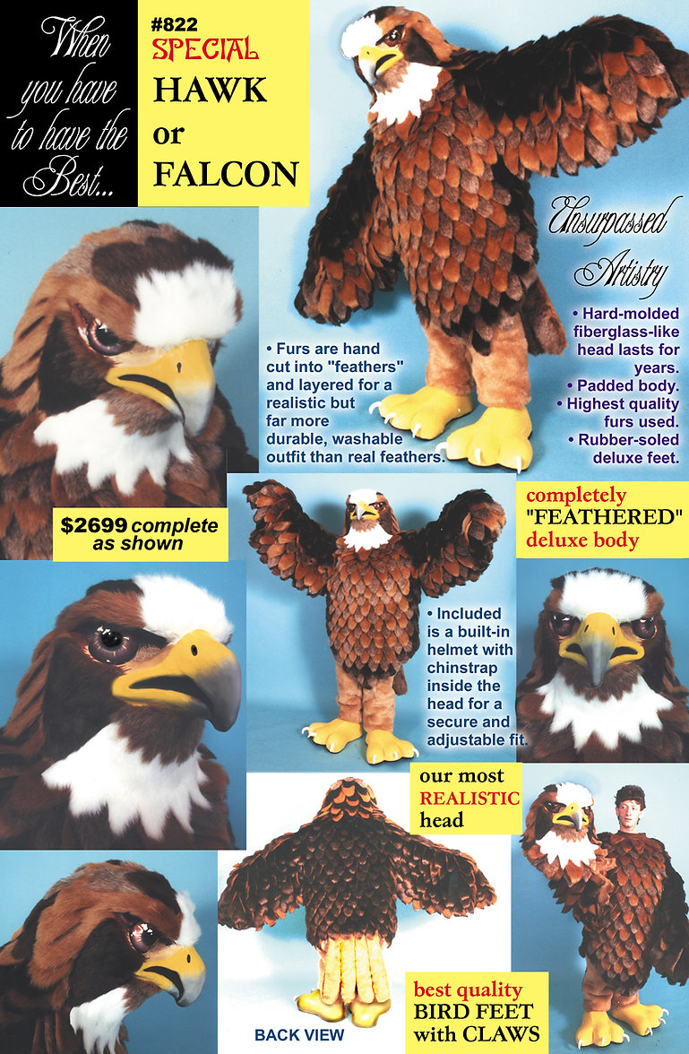 Facemakers hawk-falcon mascot costumes