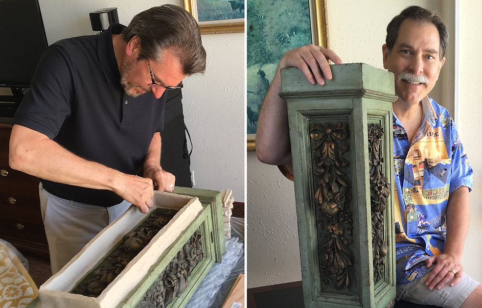Titanic sculptor, Alan St. George, and Titanic painter, Ken Marschall, collaborate to preserve (3) of Ken's RMS Olympic newel post facings.