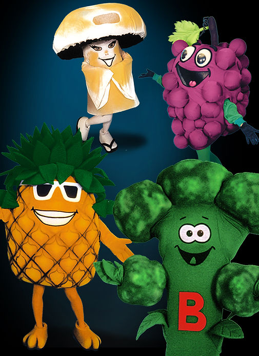 Facemakers Fruit & Veggie mascot costumes