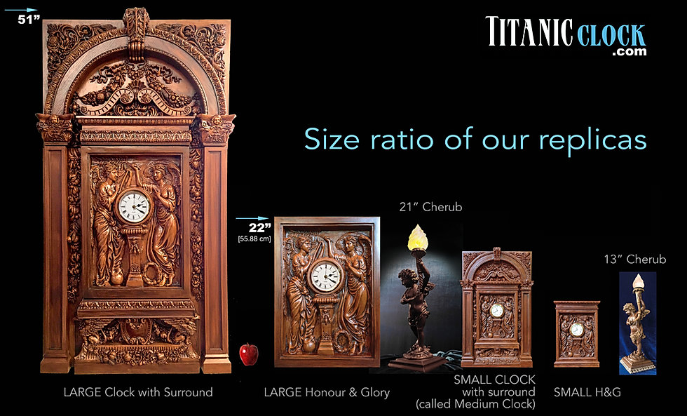 Titanic Clock replicas in scale relationship to each other